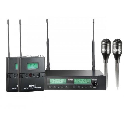 میکروفن بی سیم دو یقه ای مای پرو MIPRO ACT-311/ACT-32T/MU-55L